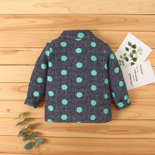 Kid Boys Dots Lapel Long Sleeve Shirt Boys Clothes Wholesale