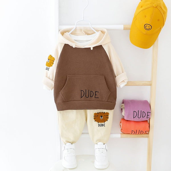 Boys Little Lion Pattern Hooded Top & Pants Boys Casual Suits