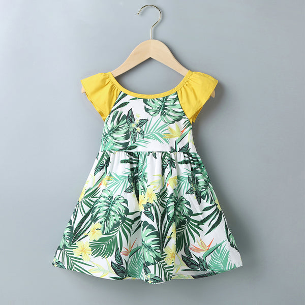 Kids Korean Summer Girls Green Print Bowknot Dress Casual Holiday Skirt Girls Dress Wholesale