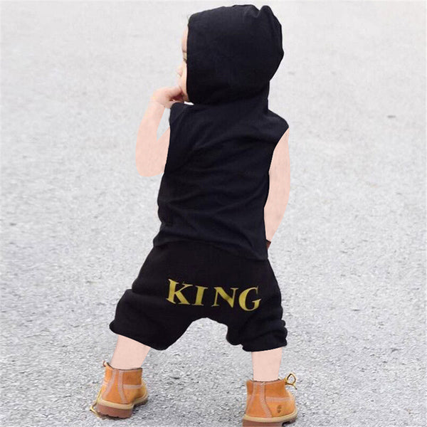 Baby Boys King Printed Sleeveless Hooded Top & Shorts Buy Baby Clothes Wholesale