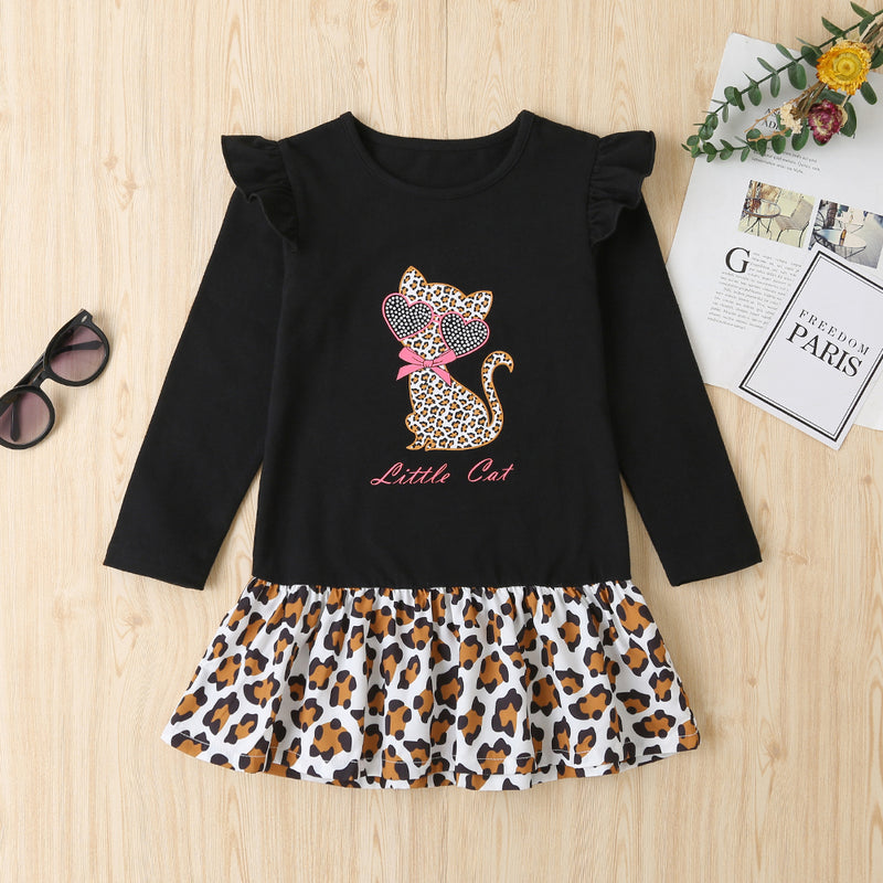 Girls Kitty Letter Printed Long Sleeve Leopard Splicing Dress