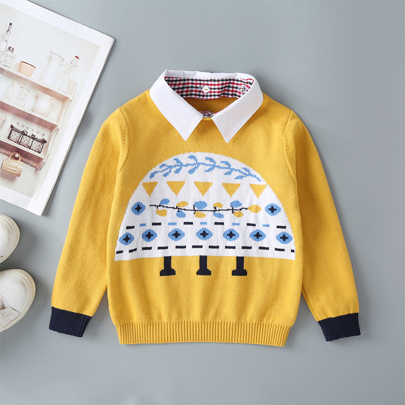 Cute Print Long Sleeve Knit Jumper With Removable Collar