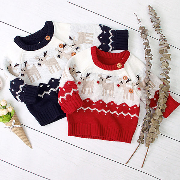 Baby Boys Knitted Cartoon Elk Printed Sweater