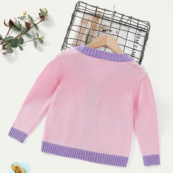 Girls Knitted Color Block  Long Sleeve Cardigan Sweaters Wholesale Childrens Clothing