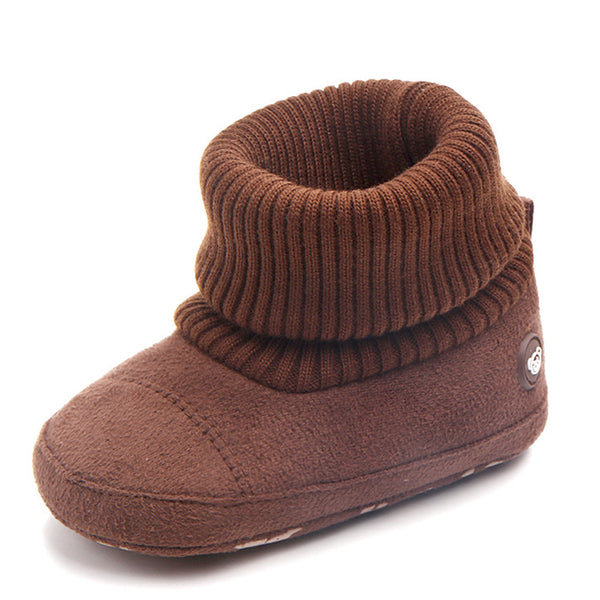 Baby Boys Knitted Flanged Snow Boots