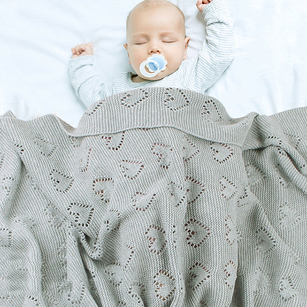 Baby Knitted Heart Hollow Out Blankets Wholesale Cheap Baby Blankets In Bulk