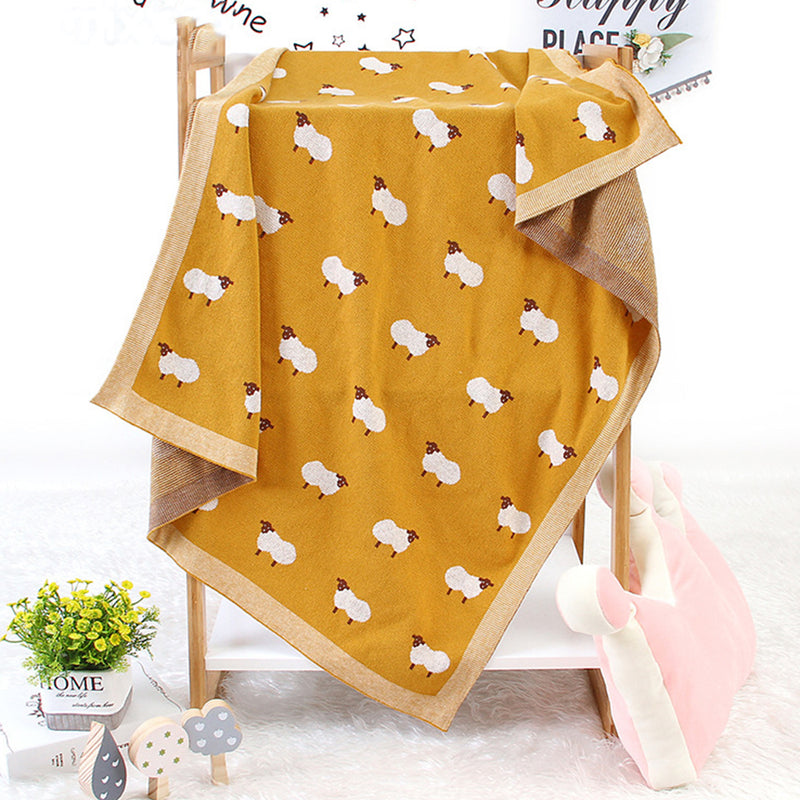 Baby Knitted Lamb Printed Cotton Baby Blankets Wholesale