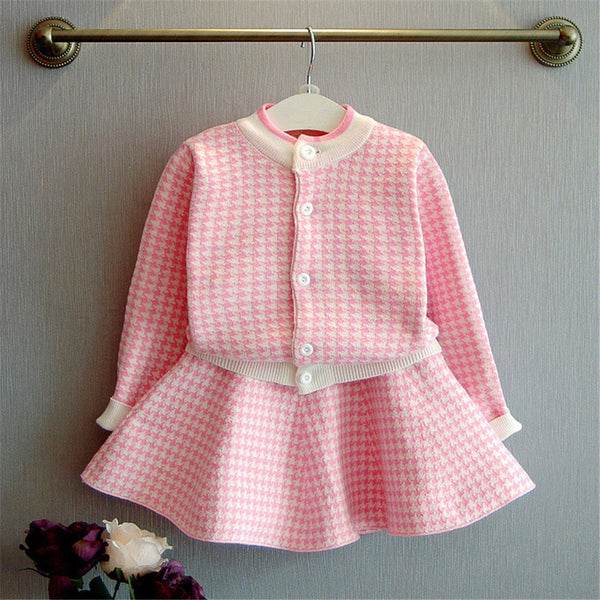 Girls Knitted Long Sleeve Cardigan Sweater & Skirt Girls Clothes Wholesale
