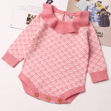 Baby Girls Knitted Long Sleeve Printed Romper