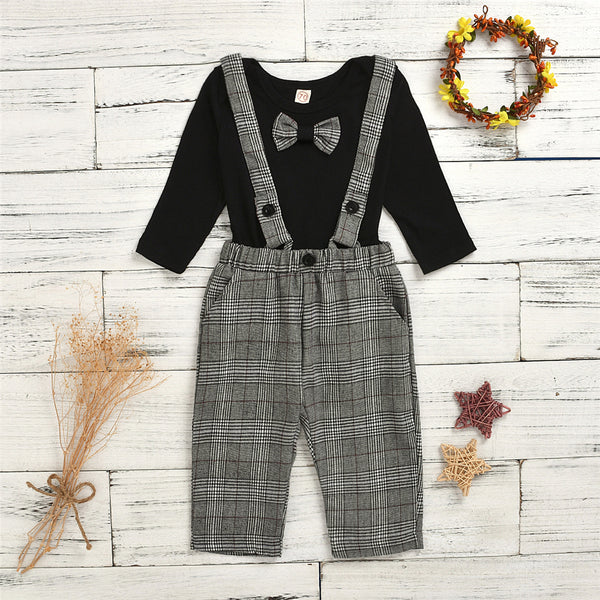 Baby Boys Knitted Long Sleeve Romper & Plaid Pants
