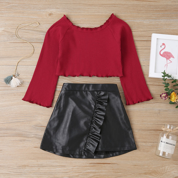 Girls Long Sleeve Top & PU Skirt Wholesale Girls Clothes
