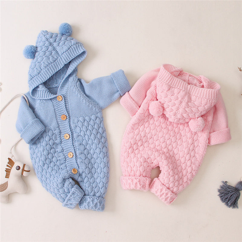 Baby Knitted Solid Long Sleeve Sweaters Hooded Romper
