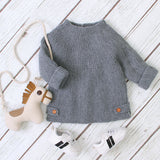 Baby Girls Knitted Solid Long Sleeve Sweaters Wholesale Baby Clothes In Bulk