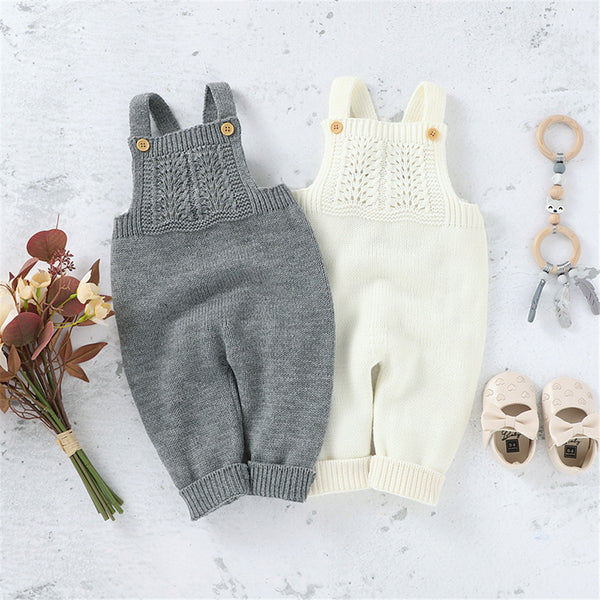 Baby Girls Knitted Solid Sweet Jumpsuits