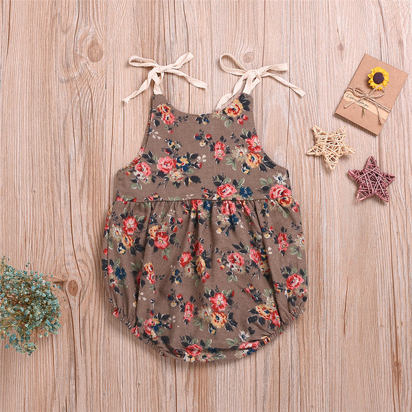Baby Girls Lace-Up Floral Printed Sleeveless Romper Baby Wholesale Clothes