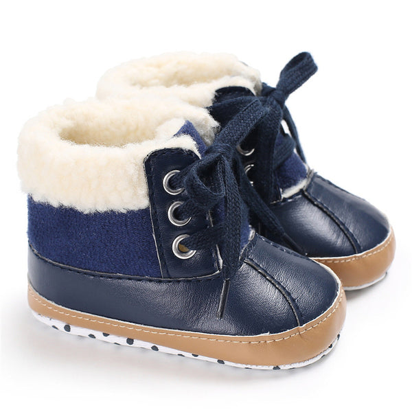 Baby Unisex Lace-up PU Casual Snow Boots Wholesale Child Shoes