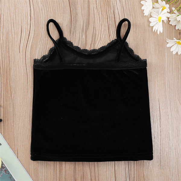Girls Lace Black Letter Angel Tank Top wholesale toddler clothing