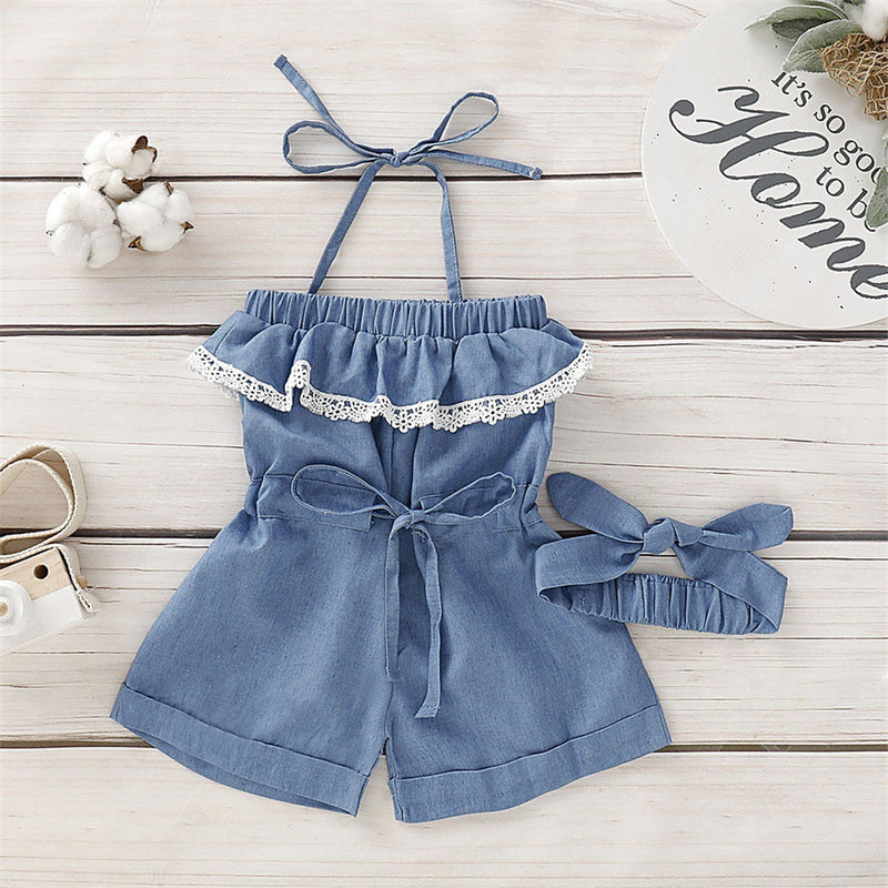 Girls Lace Bow Decor Decor Suspender Denim Jumpsuit & Headband Kids Clothing Suppliers