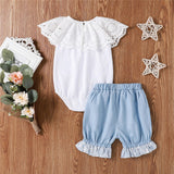 Baby Girls Lace Collar Solid Color Romper & Shorts Baby Boutique Clothing Wholesale