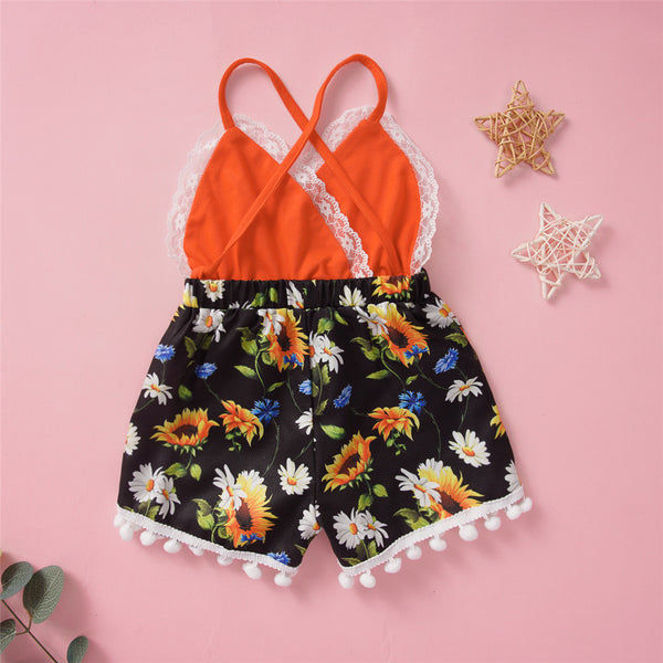 Baby Girls Lace Floral Printed Splicing Hairy Ball Jumpsuit Wholesale Baby Clothes