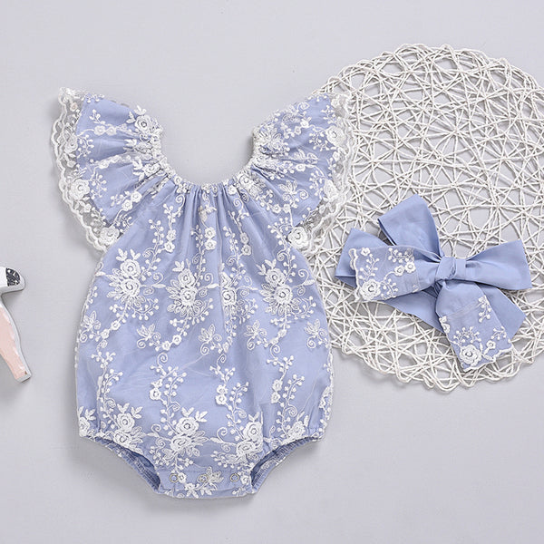 Baby Girls Lace Flying Sleeve Fashion Romper & Headband cheap baby girl clothes boutique