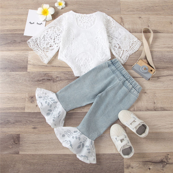 Baby Girls Lace Hollow Out Long Sleeve Romper & Flared Jeans Baby Boutique Wholesale