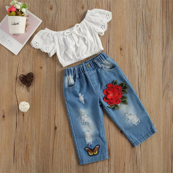 Girls Lace Hollow Out Short Sleeve Top & Embroidery Ripped Jeans Wholesale Girl Clothing