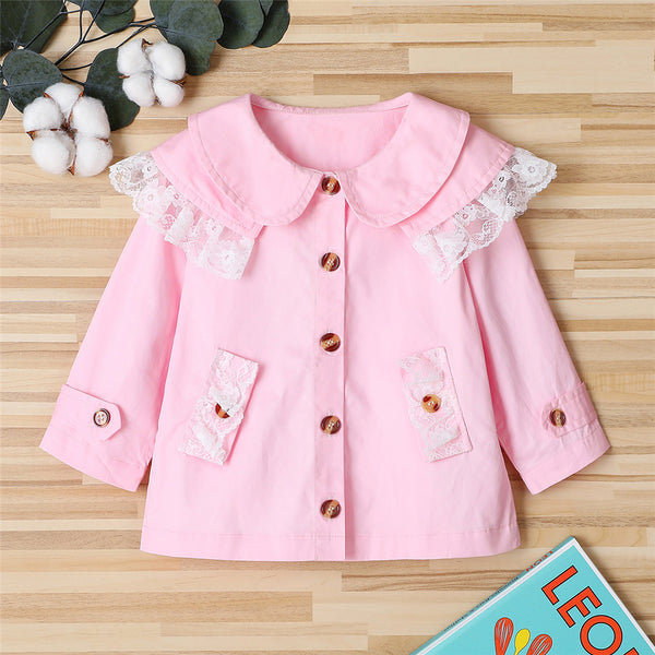 Girls Lace Long Sleeve Button Outwear Wholesale Little Girl Boutique Clothing