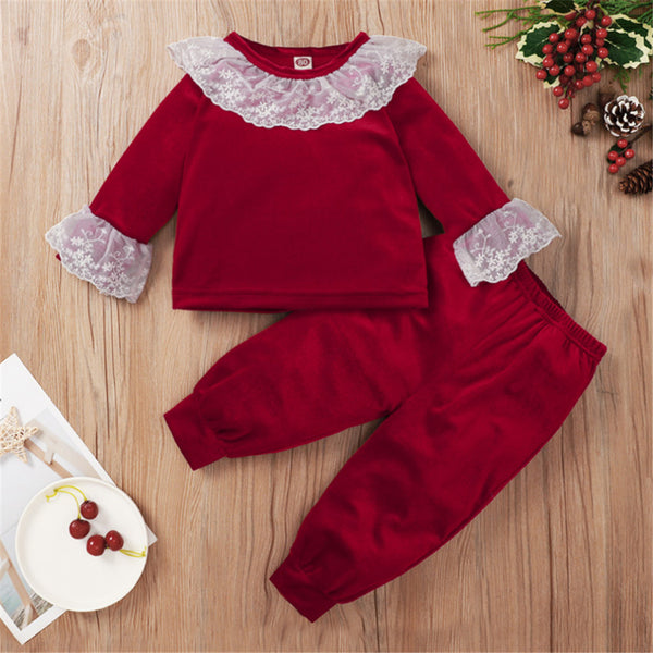 Baby Girls Lace Long Sleeve Red Top & Pants Wholesale Baby Cloths
