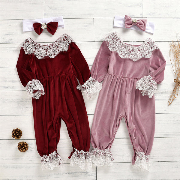 Baby Girls Lace Long Sleeve Romper & Headband Wholesale Baby Store