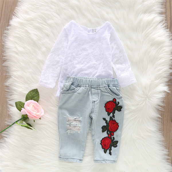 Girls Lace Long Sleeve Tops & Ripped Rose Embroidered Jeans
