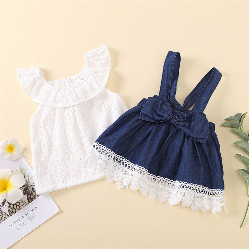 Baby Girls Lace Lotus Leaf Collar Top & Suspender Skirt Baby Wholesale Suppliers