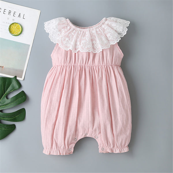 Baby Girls Lace Lotus Leaf Sleeveless Romper Buy Baby Clothes Wholesale