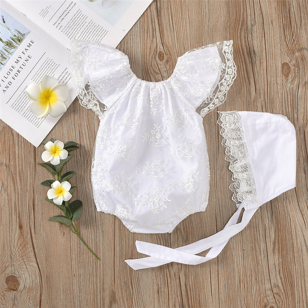 Baby Girls Lace Lovely Romper & Hat cheap girls boutique clothes
