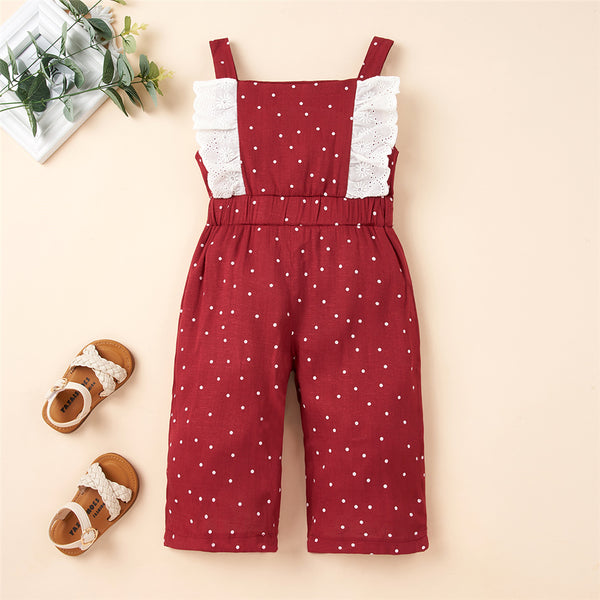 Girls Lace Polka Dot Sling Jumpsuit Girls Boutique Clothes Wholesale