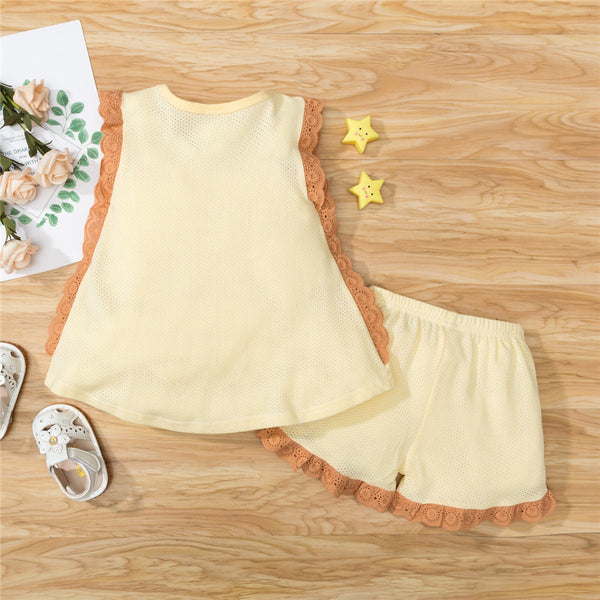 Girls Lace Ruffled Solid Sleeveless Top & Shorts Bulk Childrens Clothing Suppliers
