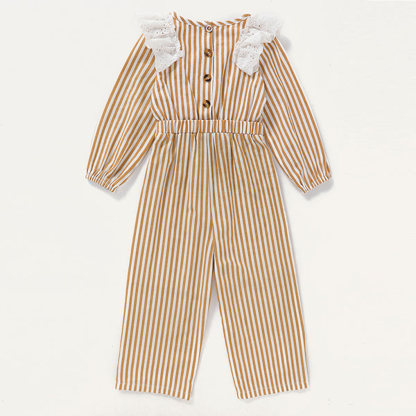 Girls Lace Ruffled Striped Long Sleeve Jumpsuit Trendy Kids Wholesale Clothing