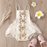 Baby Girls Lace Sequin Sling Romper Baby Clothes Cheap Wholesale