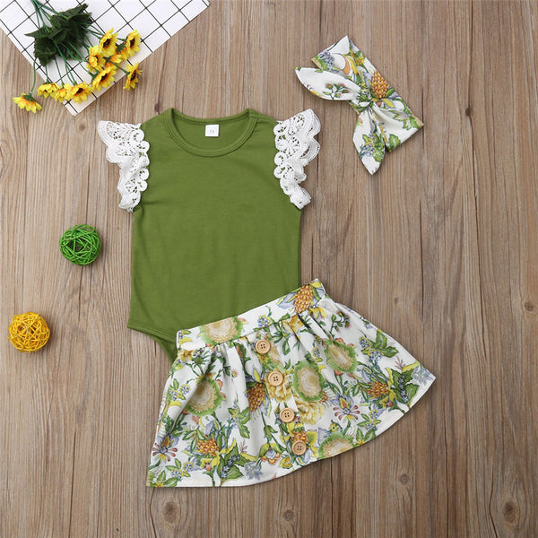 Baby Girls Lace Short Sleeve Romper & Floral Printed Skirt & Headband Baby Clothes Wholesale Suppliers