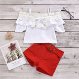 Girls Lace Short Sleeve Sling Top & Red Shorts Wholesale Girl Boutique Clothing