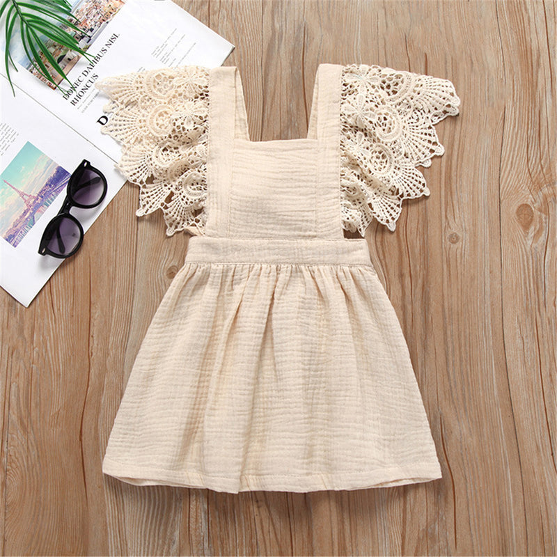 Baby Girls Lace Short Sleeve Solid Color Cotton Dress Baby Clothing Wholesale Distributors