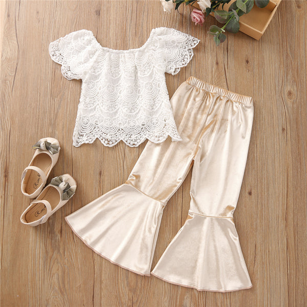 Girls Lace Short Sleeve Solid Top & Flared Pants kids wholesale clothing