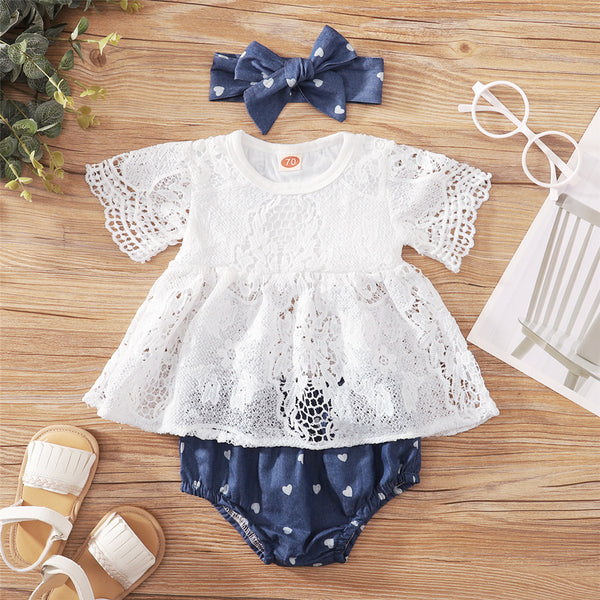 Baby Girls Lace Short Sleeve White Top & Shorts & Headband bulk baby clothes