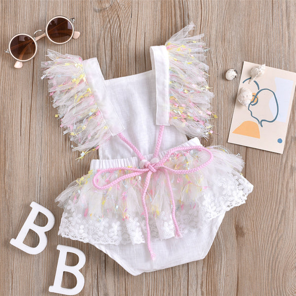 Baby Girls Lace Sleeveless Mesh Romper baby wholesale clothing