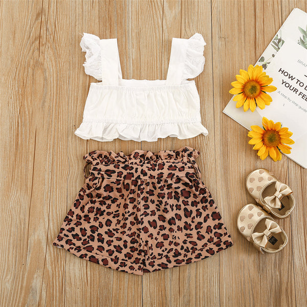 Girls Lace Sleeveless Top & Leopard Shorts Kids Clothing Suppliers