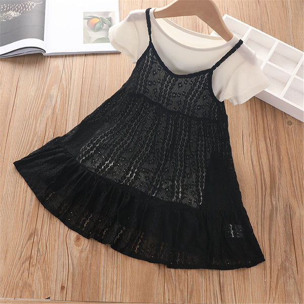 Girls Lace Sling Dresses & Short Sleeve Solid Tops children wholesale clothing