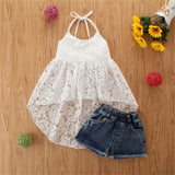Girls Lace Solid Color Dovetail Sling Top & Denim Shorts kids wholesale clothing