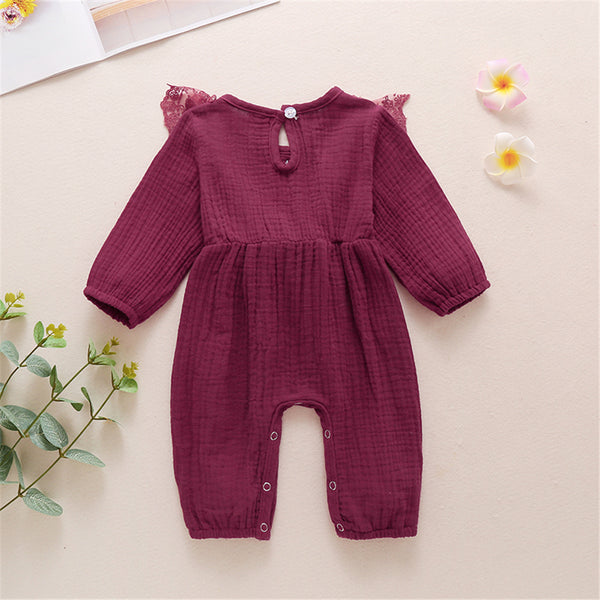 Baby Girls Lace Solid Color Long Sleeve Bow Romper Wholesale Baby Outfits