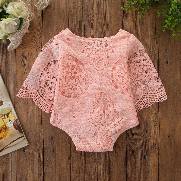 Baby Girls Lace Solid Long Sleeve Wholesale Baby Rompers
