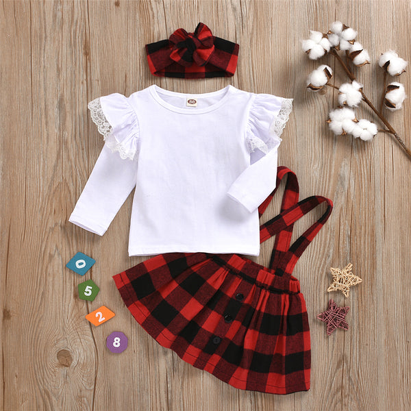 Toddler Girl Lace Solid Top & Plaid Skirt Wholesale Childrens Clothing